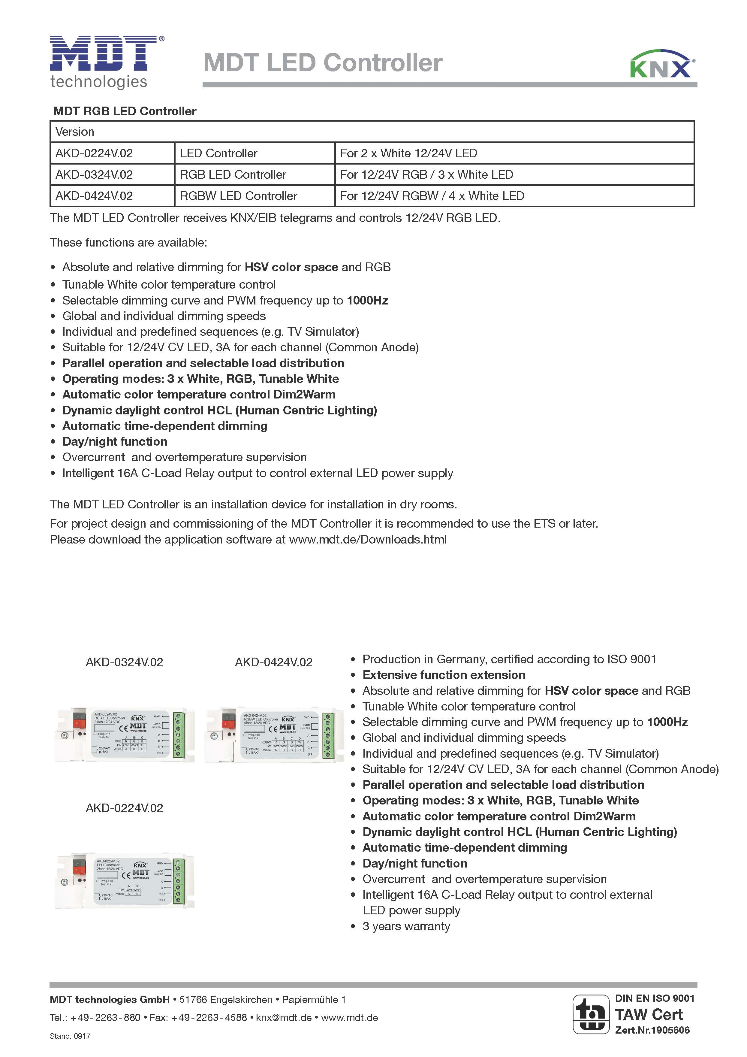 MDT DS LED Controller UP 02 Страница 1