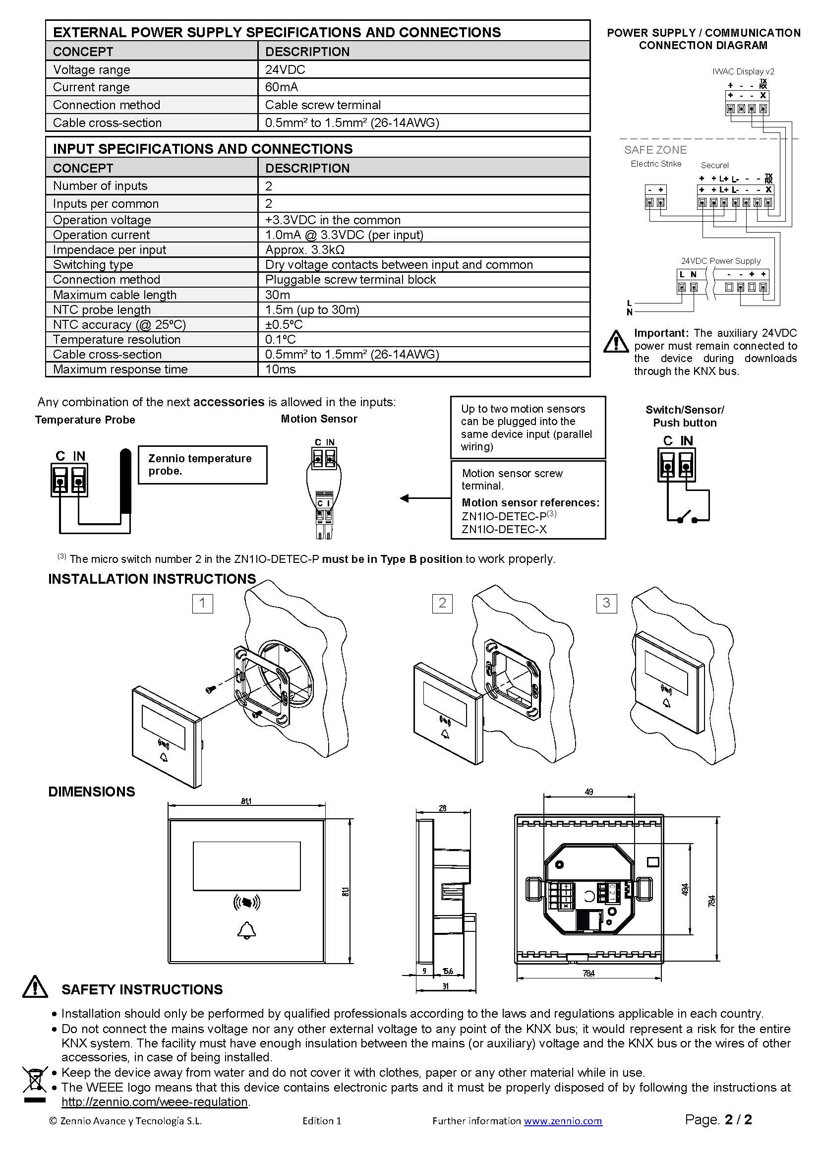 Datasheet IWAC Display v2 EN Ed1 Страница 2