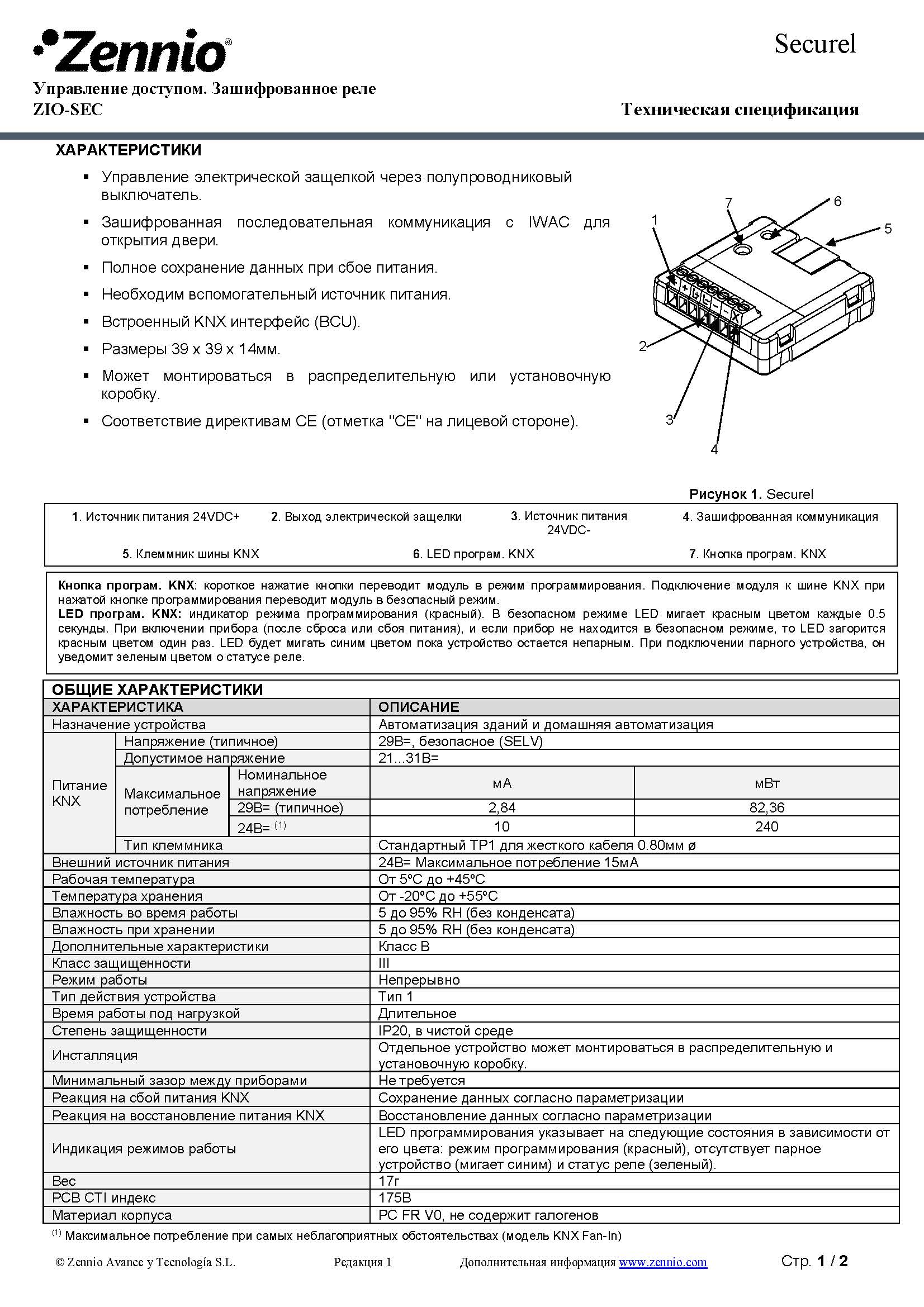 Datasheet Securel RU Ed1 Страница 1